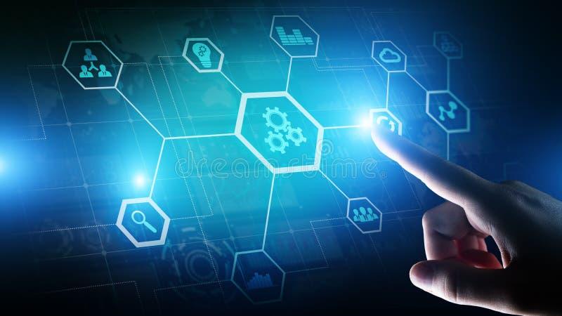 Automatisering van zaken en industrieel proces Slim fabriek en technologieinnovatieconcept op het virtuele scherm royalty-vrije stock afbeeldingen