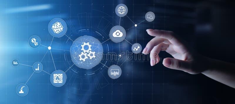 Automatisering van zaken en industrieel productieproces Van de technologieinnovatie en software-ontwikkeling concept royalty-vrije stock afbeeldingen