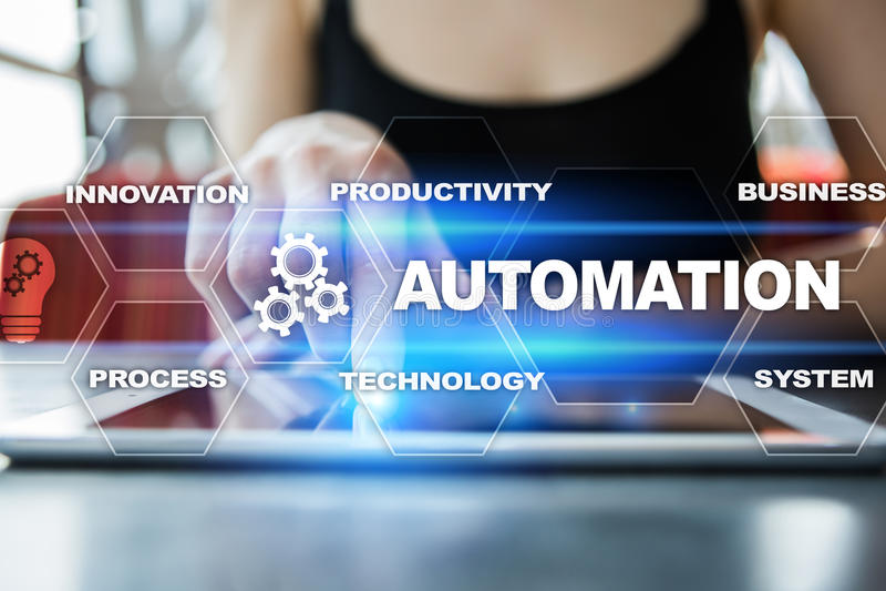 Automatiseringsconcept als innovatie in technologie en bedrijfsprocessen royalty-vrije stock fotografie