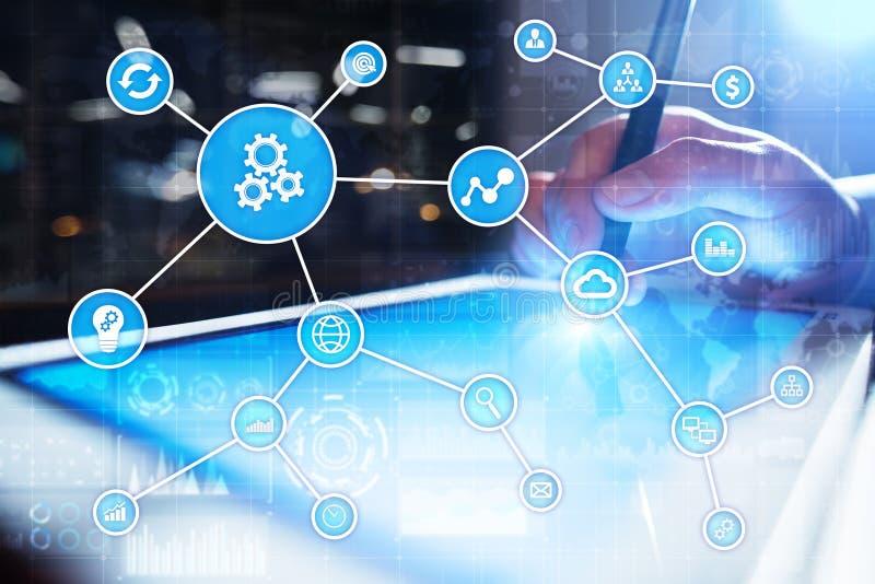 Automatiseringsconcept als innovatie, verbeterend productiviteit in technologie en bedrijfsprocessen stock foto