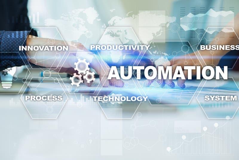Automatiseringsconcept als innovatie, verbeterend productiviteit in technologie en bedrijfsprocessen stock afbeelding