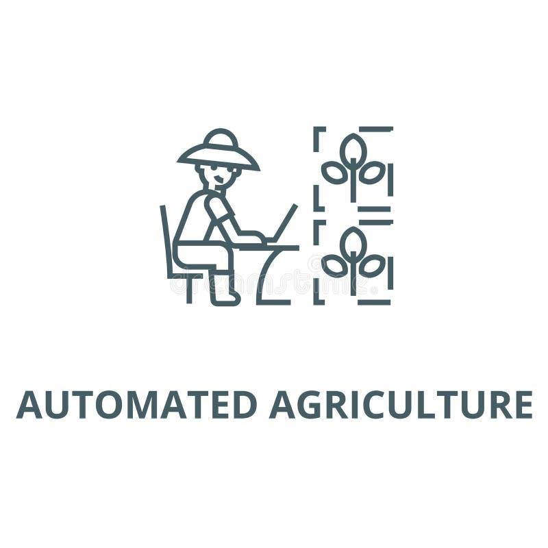 Automatisierte Landwirtschaftslinie Ikone, Vektor Automatisiertes Landwirtschaftsentwurfszeichen, Konzeptsymbol, flache Illustrat stock abbildung