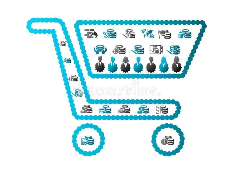 Automatisiertes Einkaufen lizenzfreie abbildung