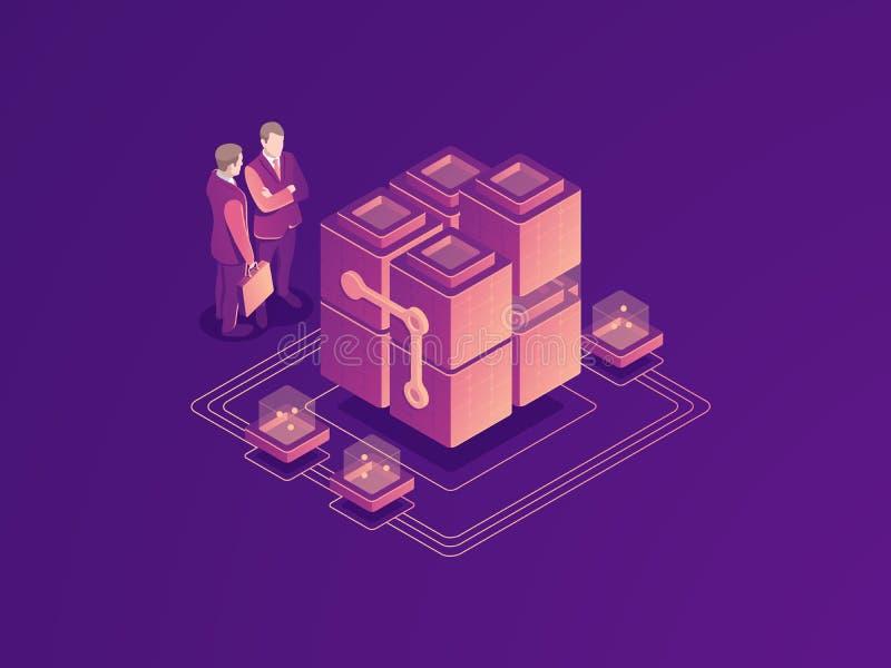Automatisiertes Geschäftsprozesskonzept, Serverraumgestell, Rechenzentrum, Datenbankikone, Geschäftsmann mit Koffer vektor abbildung
