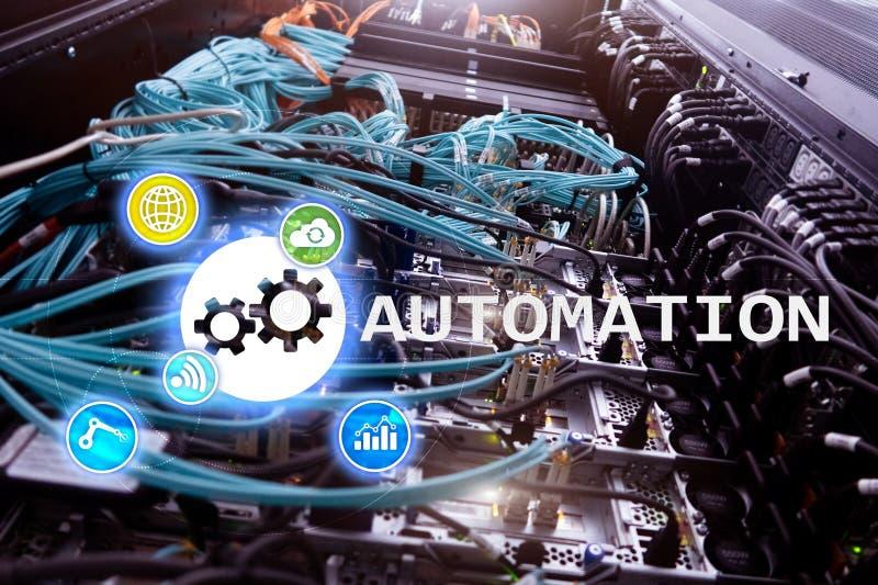 Automatisierung der Geschäftsprozess- und Innovationstechnologie in der Herstellung Internet und Technologiekonzept auf Serverrau stockfoto