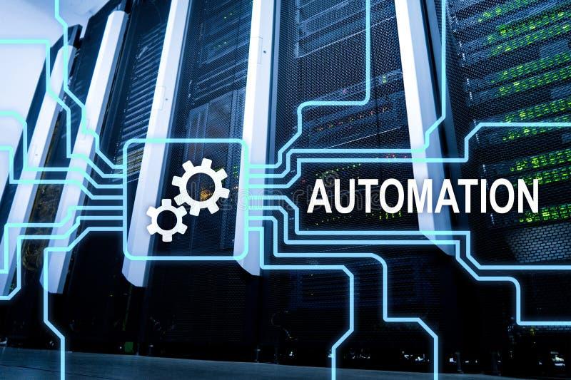 Automatisierung der Geschäftsprozess- und Innovationstechnologie in der Herstellung Internet und Technologiekonzept auf Serverrau lizenzfreies stockfoto