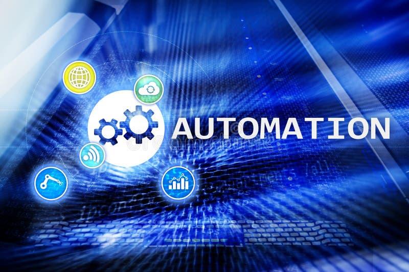 Automatisierung der Geschäftsprozess- und Innovationstechnologie in der Herstellung Internet und Technologiekonzept auf Serverrau stockbilder