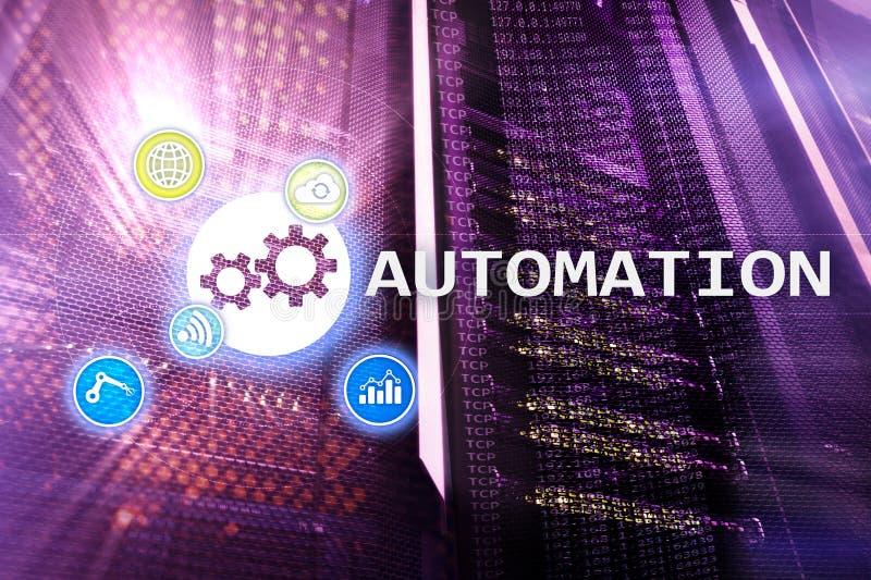 Automatisierung der Geschäftsprozess- und Innovationstechnologie in der Herstellung Internet und Technologiekonzept auf Serverrau lizenzfreies stockbild