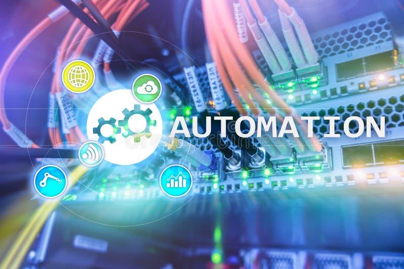 Automatisierung der Geschäftsprozess- und Innovationstechnologie in der Herstellung Internet und Technologiekonzept auf Serverrau stockbild