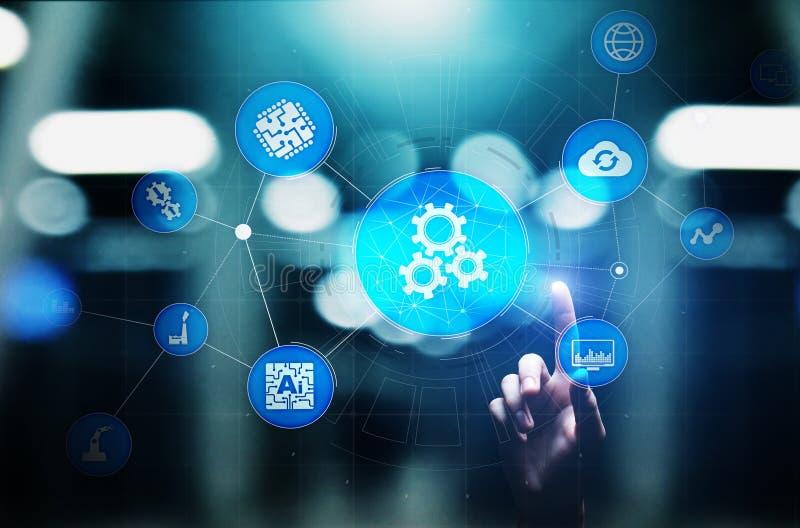 Automatisierung des Gesch?fts und des industriellen Herstellungsverfahrens Technologieinnovation und Softwareentwicklungskonzept stock abbildung