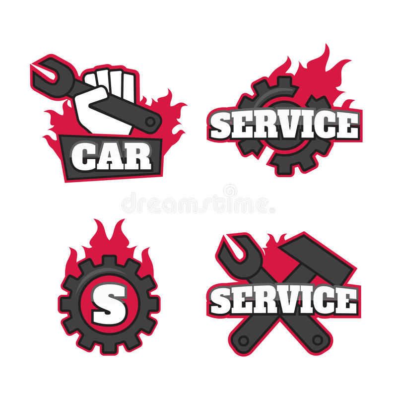 Automatisk bil Logo Template Design Garage fastställd eps10 stock illustrationer