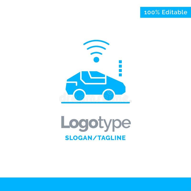 Automatisk bil, Wifi, signal blåa fasta Logo Template St?lle f?r Tagline royaltyfri illustrationer