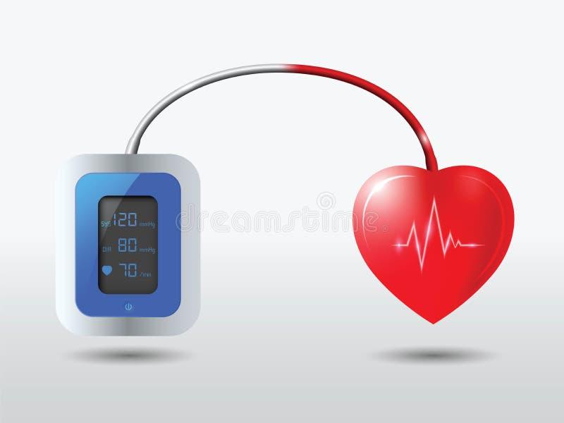 Automatisk blodtryckbildskärm med sund hjärta stock illustrationer