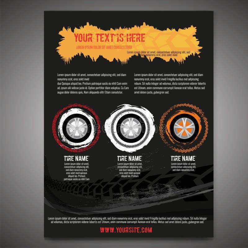 Automatisk gummihjulbroschyr vektor illustrationer