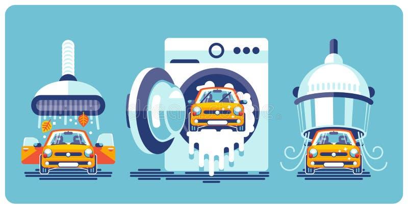 Automatisk linje av lokalvård och tvagningen av bilen stock illustrationer