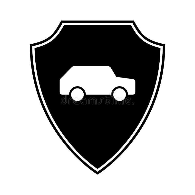 Automatisk mall för design för bilsköldlogo Skydda bilvaktskölden Symbol för säkerhetsemblemmedel Säkerhetsautomatisketikett Bill royaltyfri illustrationer