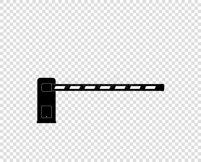 Automatisk monokrom barriär för vektor, symbol barreling Staket Bil parkering Beståndsdel som isoleras på ljus bakgrund royaltyfri illustrationer