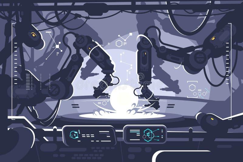 Automatisk robot i industriell produktion stock illustrationer