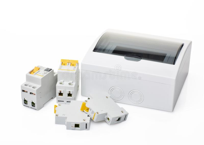 Automatiska strömkretssäkerhetsbrytare arkivbilder