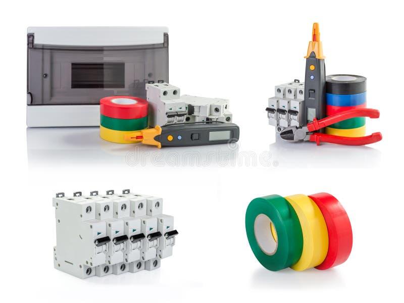Automatiska strömkretssäkerhetsbrytare, isoleringsband, tester arkivbild
