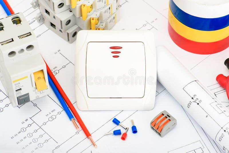 Automatiska strömkretssäkerhetsbrytare, kopparenkel kärnakabel Tillbehör för säker och säker elektrisk installation elektriskt royaltyfri foto