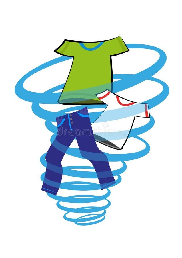Automatiskt tvätteribegrepp Skjortor och jeans roterar i en växande bubbelpool av vatten På vitbakgrund Redigerbart gem ar vektor illustrationer