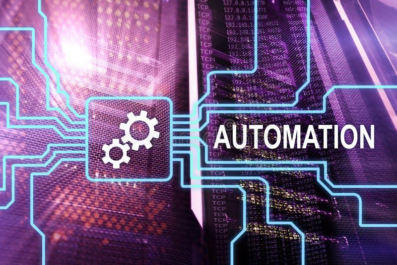Automatização da tecnologia do processo de negócios e da inovação na fabricação Conceito do Internet e da tecnologia na sala do s fotografia de stock