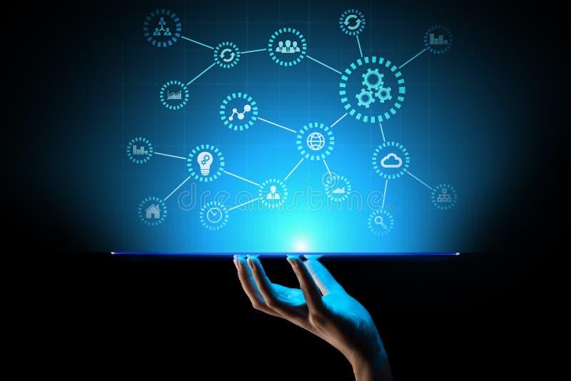 Automatiza??o, ind?stria 4 0, IOT, Internet do conceito das coisas na tela virtual imagem de stock