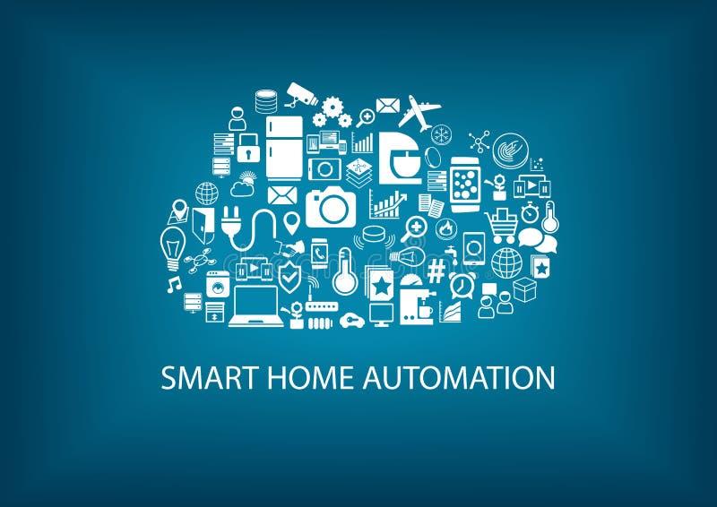 Automatización casera elegante con tecnología de ordenadores de la nube libre illustration