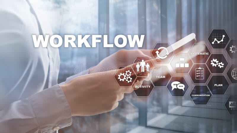 Automatizaci?n de los flujos de trabajo del negocio Proceso del trabajo Confiabilidad y repetibilidad en tecnolog?a y procesos fi foto de archivo libre de regalías