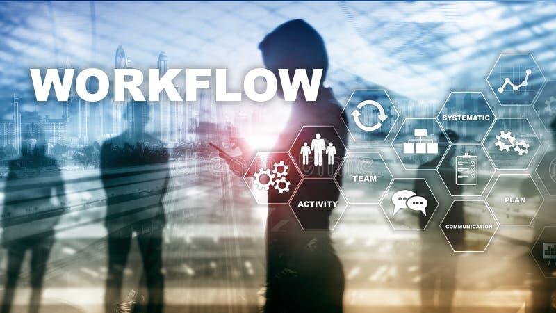 Automatizaci?n de los flujos de trabajo del negocio Proceso del trabajo Confiabilidad y repetibilidad en tecnolog?a y procesos fi fotos de archivo libres de regalías