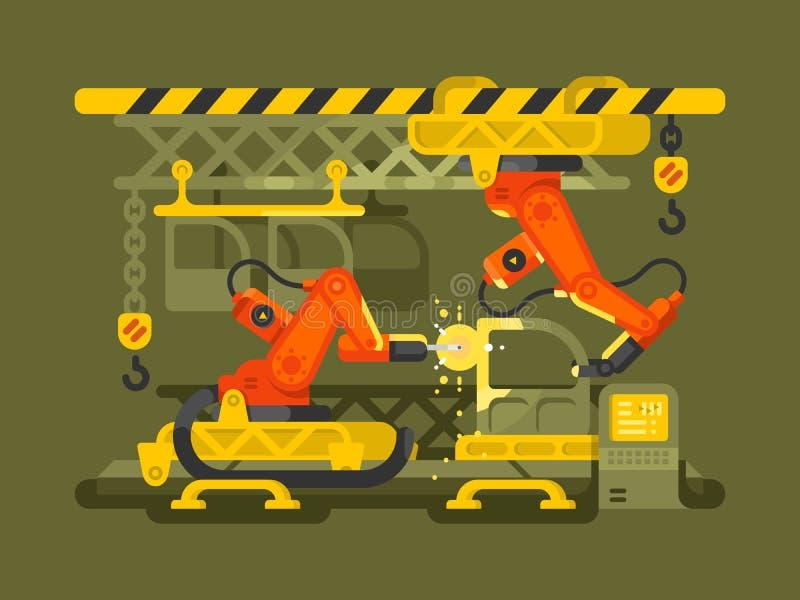 Automatyczna produkcja używać robotykę ilustracja wektor