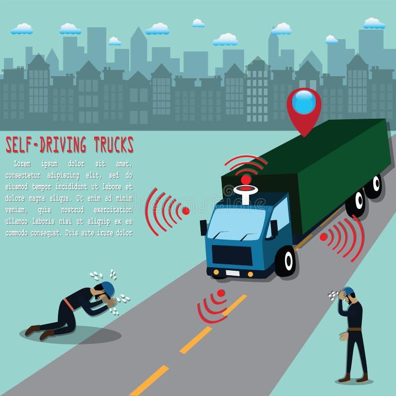 Automatyczne ciężarówki używali dla transportu i zamieniali ludzkiego kierowcy - wektor ilustracja wektor