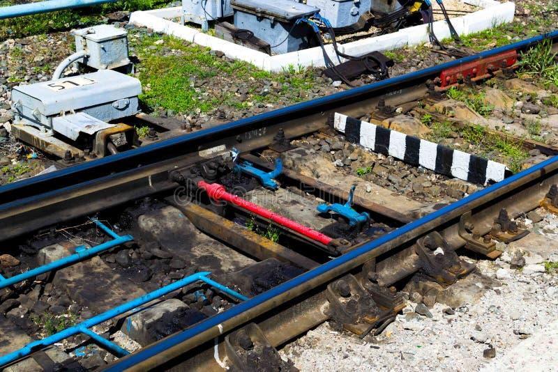 Automatycznej zmiany mechanizm na linii kolejowej, zako?czenie, kolej zdjęcia stock