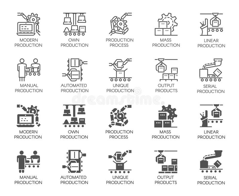 Automatyczni i ręczni produkcja guziki Set ikony w linii i glifu projektach Konturu i czerni płaskie etykietki ilustracja wektor