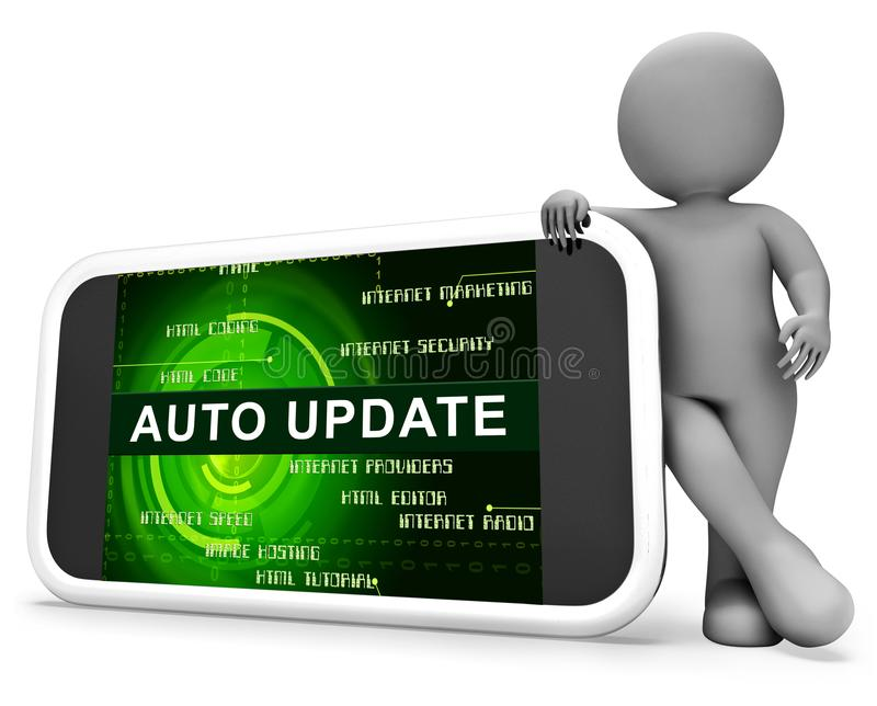 Automatyczny aktualizaci Lub ulepszenia Proces 3d rendering ilustracji