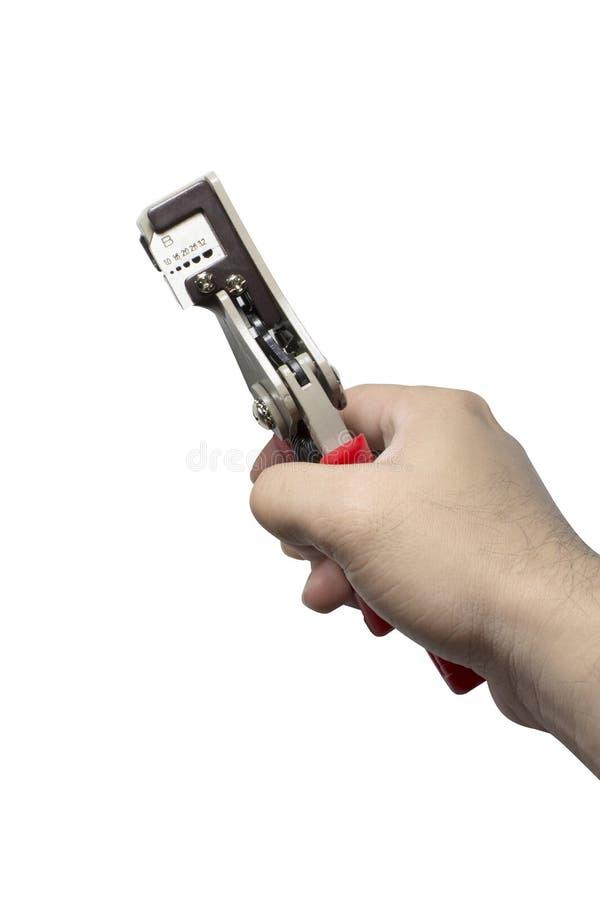 Automatyczny druciany spychacz, Drucianego spychacza narzędzia w ręce fotografia royalty free
