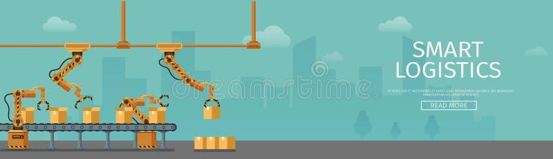 Automatyczny konwejeru kocowania kartonu sztandar ilustracja wektor
