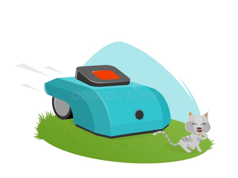 Automatyczny lawnmower atakuje ślicznej figlarki ilustracji