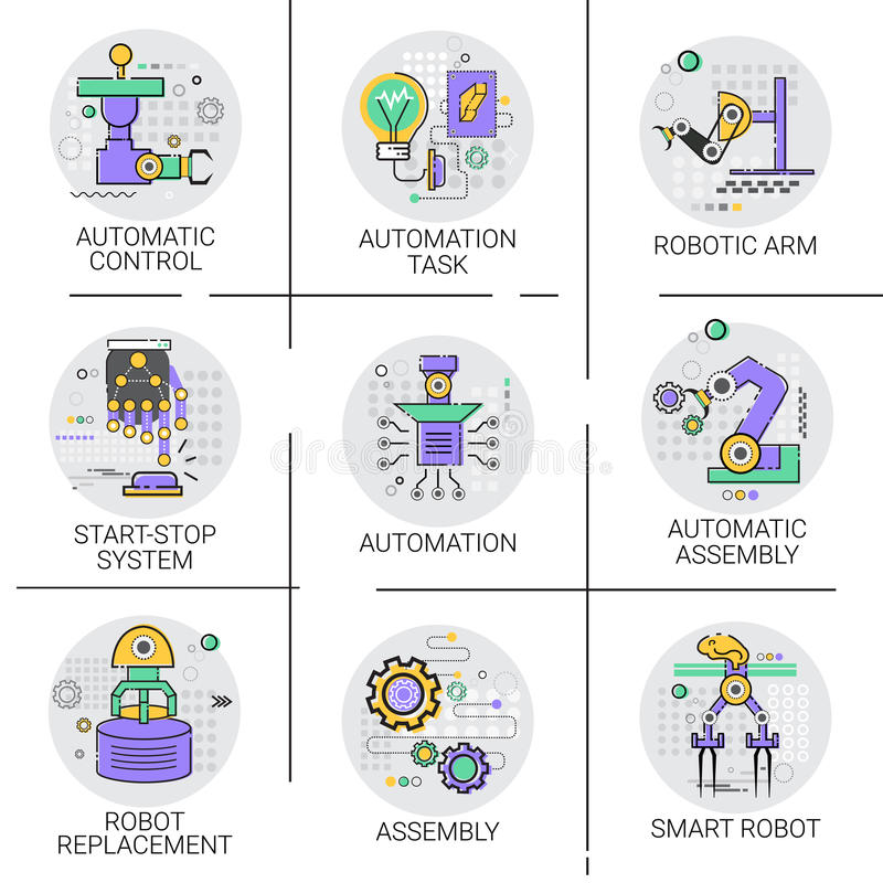 Automatyczny robot maszynerii Przemysłowej automatyzaci przemysłu produkci ikony set ilustracja wektor