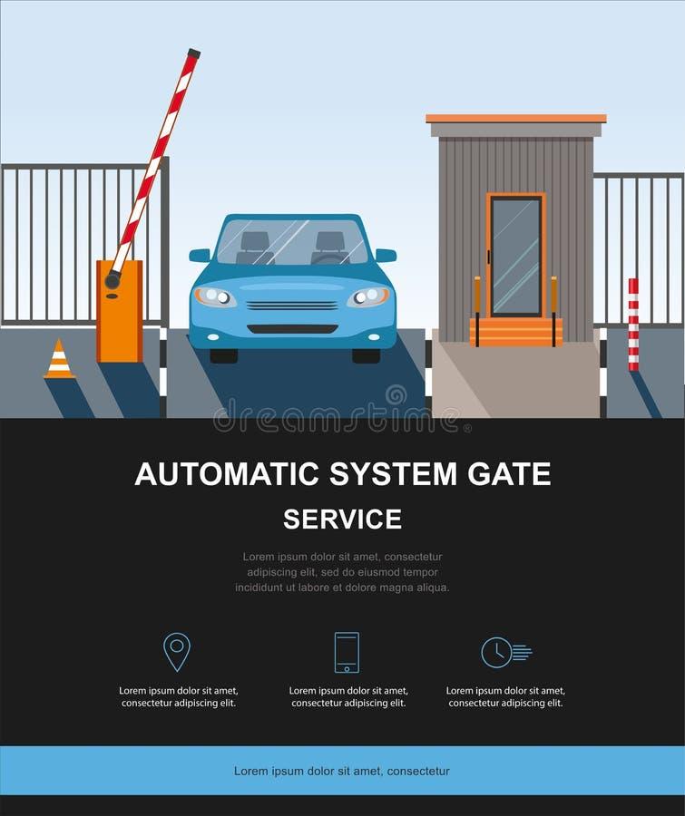 Automatyczny wydźwignięcie W górę bariery, automatycznego systemu brama dla ochrony ilustracja wektor