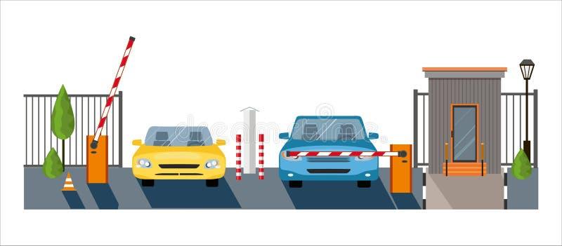 Automatyczny wydźwignięcie W górę bariery z samochodami na białym tle, automatycznego systemu brama dla ochrony, ilustracji