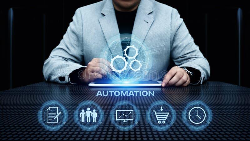 Automatyzaci oprogramowania technologii procesu systemu biznesu pojęcie obraz stock