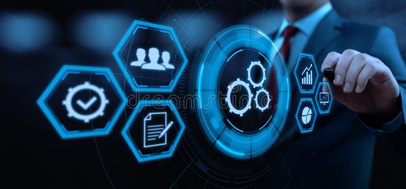 Automatyzaci oprogramowania technologii procesu systemu biznesu pojęcie ilustracji