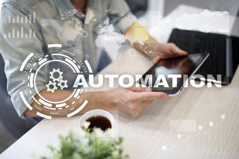 Automatyzaci pojęcie jako innowacja, udoskonalająca produktywność w technologii i rozwoje biznesu, zdjęcie royalty free