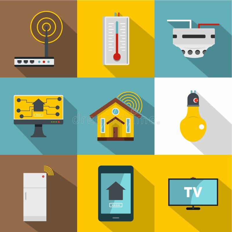 Automatyzaci technologii ikony set, mieszkanie styl royalty ilustracja