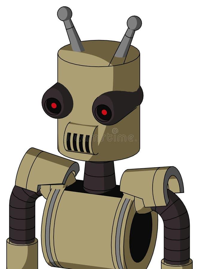 Automatyzacja Army-Tan Z Cylindrą Głową I Głośnikami, Pustymi I Czarnymi, Czerwonymi Oczami I Podwójną Anteną zdjęcie stock