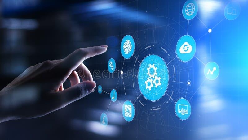 Automatyzacja biznesowy i przemys?owy proces produkcyjny Technologii rozw?j oprogramowania i innowacji poj?cie royalty ilustracja
