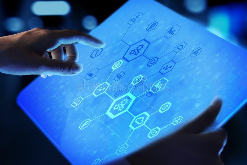 Automatyzacja systemu struktura na wirtualnym ekranie Mądrze internet rzeczy pojęcie i zdjęcia royalty free