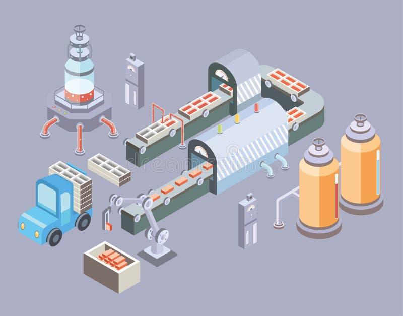 Automatyzująca linia produkcyjna Fabryczna podłoga z konwejerem i różnorodnymi maszynami Wektorowa ilustracja w isometric projekc ilustracji